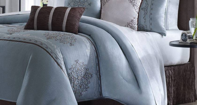 Blue Brown Piece Luxury Jacquard Bedding Bed Comforter