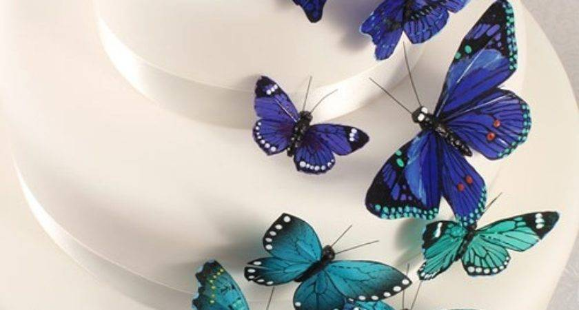 Blue Butterfly Wedding Cake Decorations