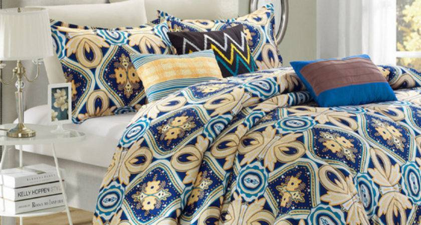 Blue Gold Stella Reversible Comforter Set Contemporary