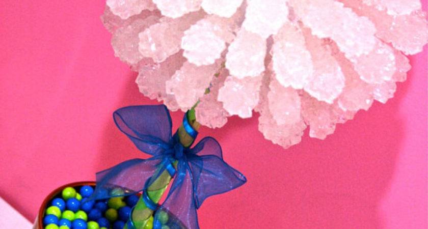 Blue Green Rock Candy Centerpiece Topiary
