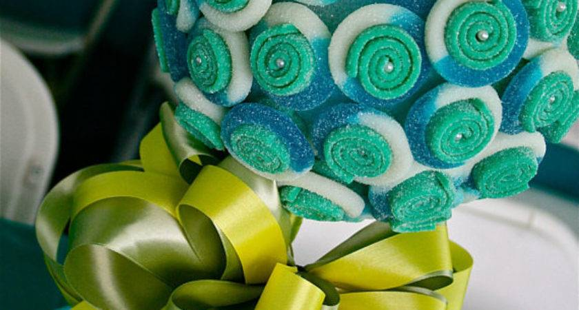Blue Green Sour Belt Candy Land Centerpiece Topiary Tree