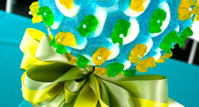 Blue Green Yellow Candy Land Centerpiece Topiary Tree