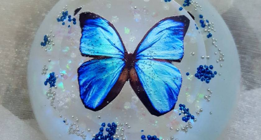 Blue Morpho Butterfly Resin Table Decor Paperweight Ooak