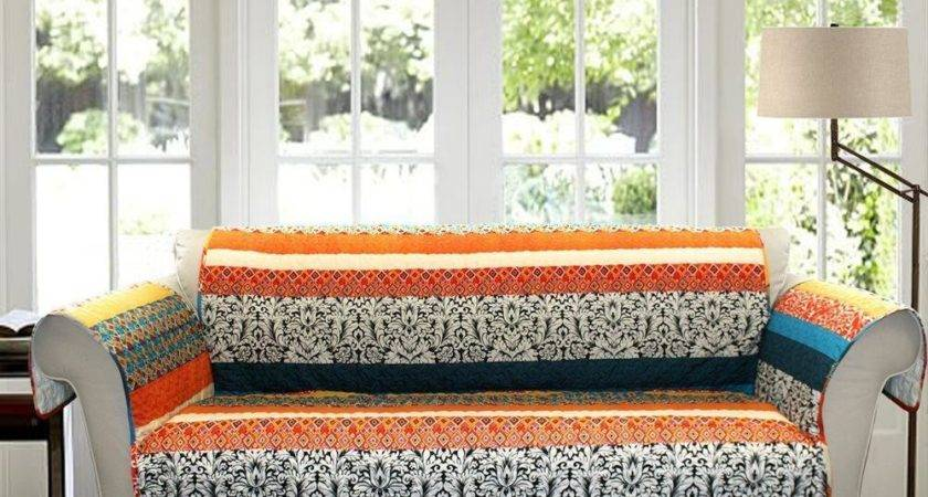Blue Red Orange Bohemian Global Stripe Sofa Furniture