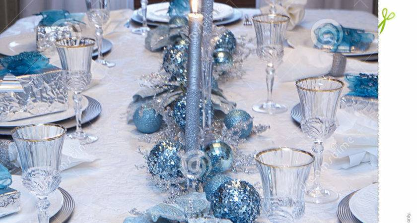 Blue Silver Christmas Table Decorations