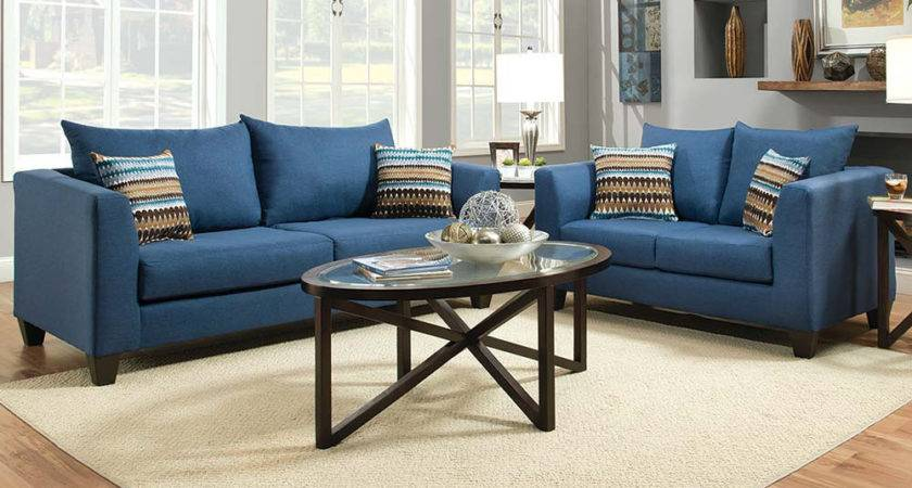 Blue Streamlined Couch Set Factory Select Sofa