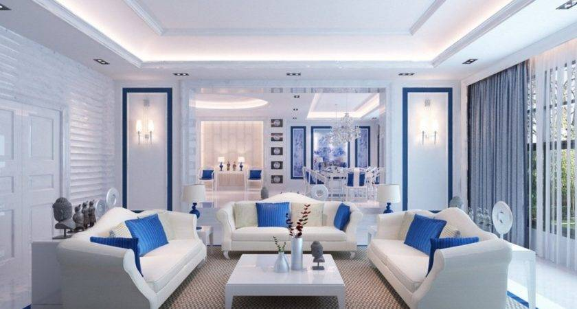 Blue White Living Room Interior Design House