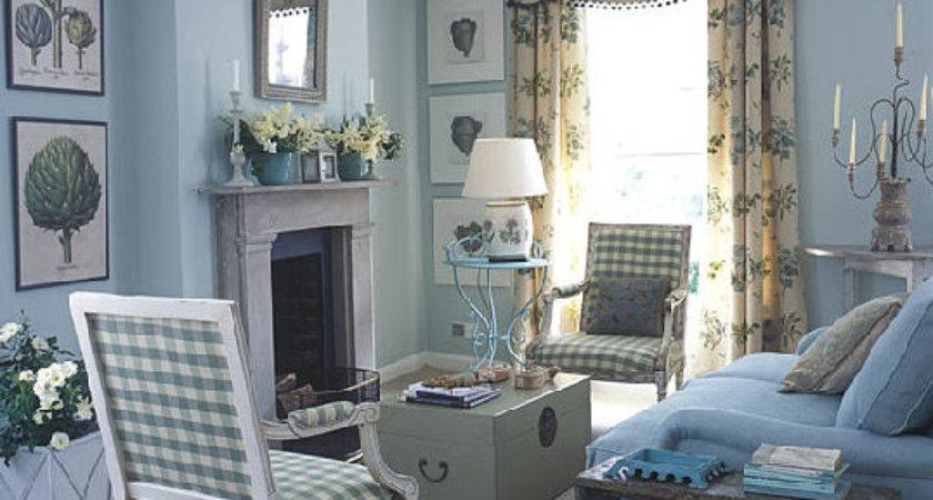 Blue White Traditional Meets Country Living Room