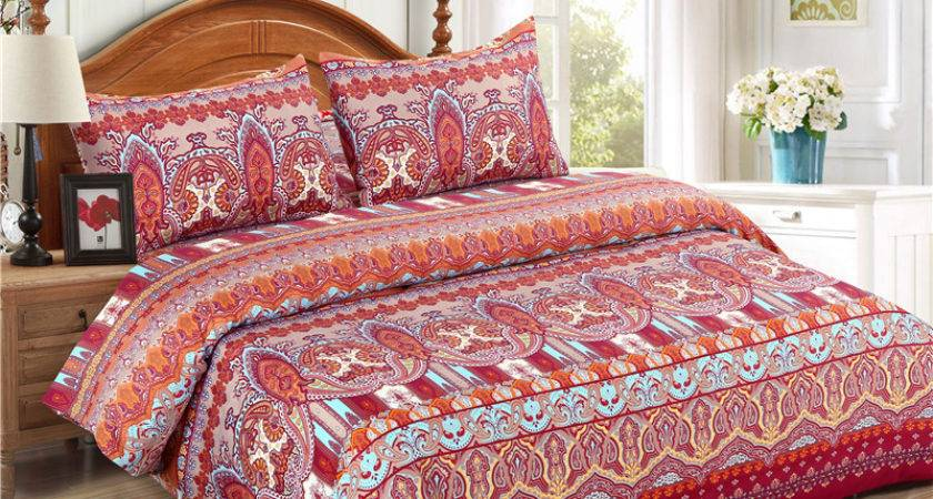 Bohemian Style Printed Polyester Bedding Set Bed