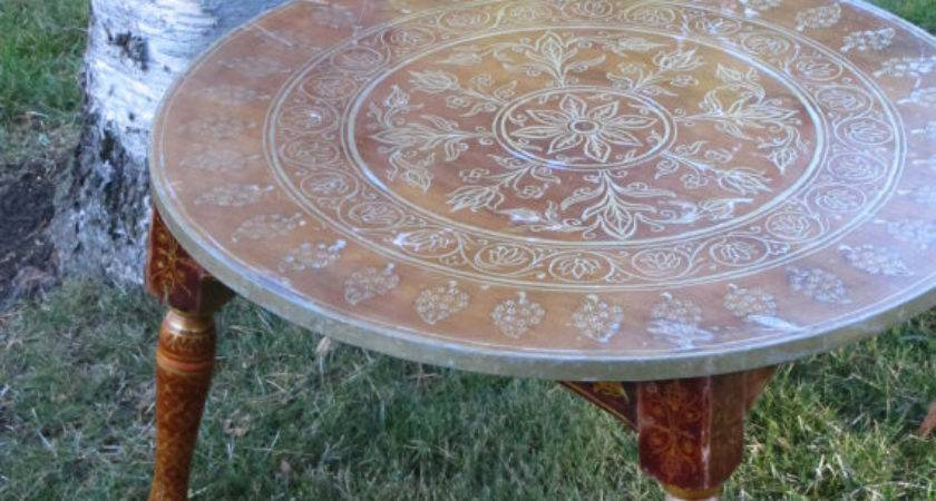 Boho Coffee Table Ship Hand Painted Wooden Round