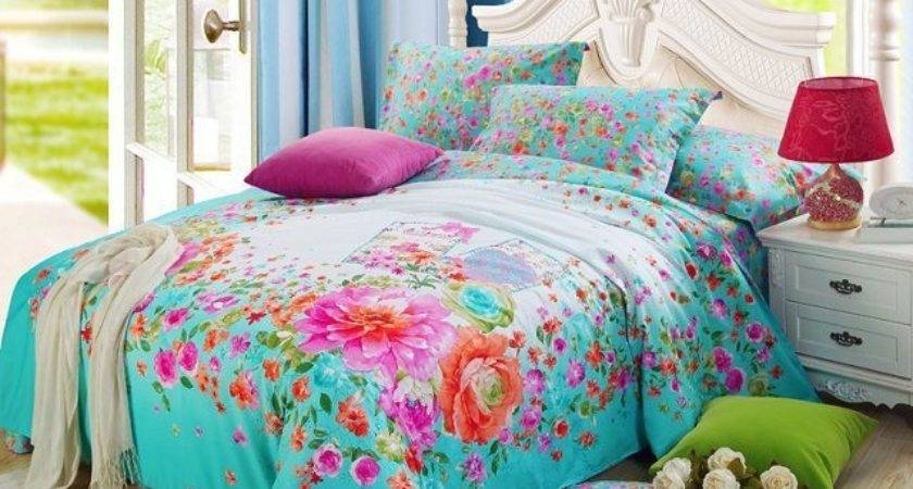 Bright Color Blue Floral Print Girls Bedding Set Queen