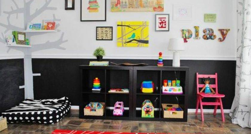 Bright Kids Playroom Ideas Black White Red Color