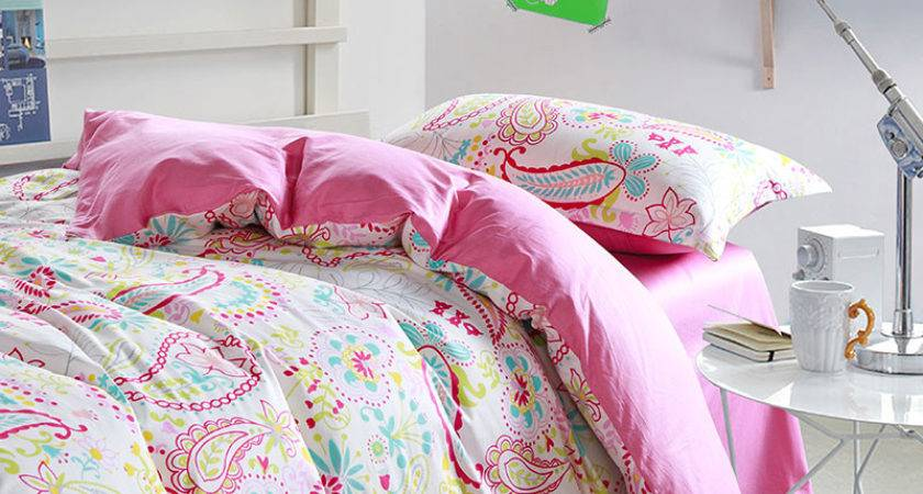 Bright Pink White Paisley Cotton Bedding Set