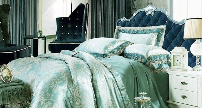 Bright Teal Gold Gothic Pattern Shabby Chic Baroque