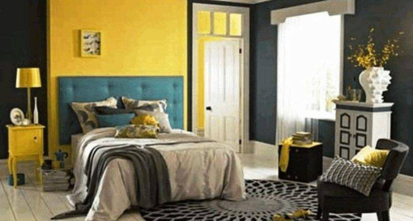Bright Yellow Plain Wall Paint Polished Small Black Chest