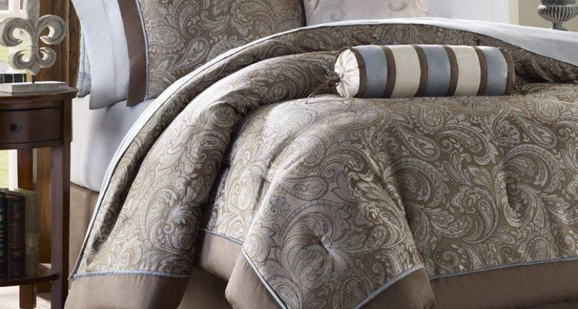 Brown Blue Piece Luxury Paisley Bedding Bed Comforter