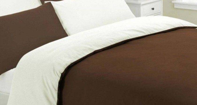 Brown Cream Reversible Duvet Cover Set