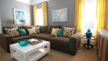 Brown Gray Teal Yellow Living Room Sectional Sofa