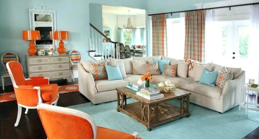 Brown Living Room Orange Accents Lightneasy
