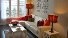 Brown Living Room Red Accents Doherty
