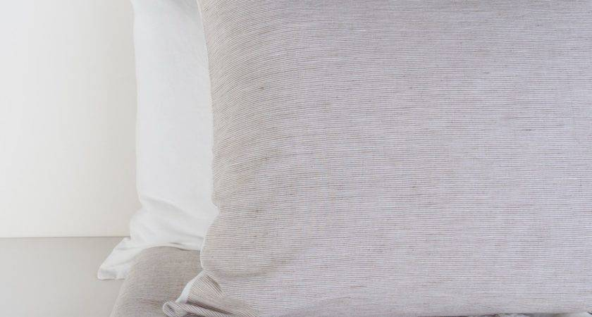 Brown Striped White Linen Blend Duvet Cover Set