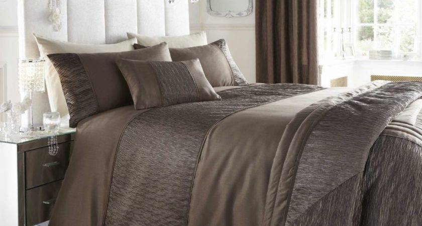 Brown Taupe Colour Stylish Textured Faux Silk Duvet Cover