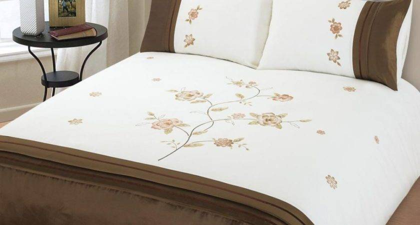 Brown White Colour Duvet Cover Embroidered Flower Design