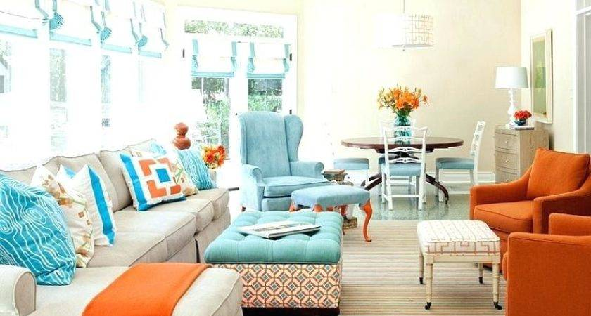 Burnt Orange Gray Living Room Blue