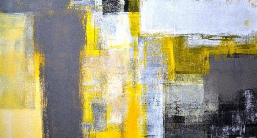 Busy Grey Yellow Abstract Art Painting