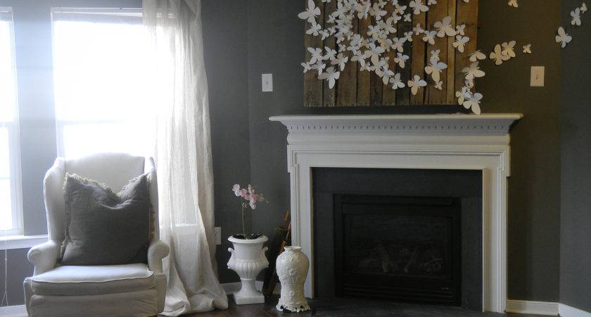 Butterfly Wall Art Design Fabulous Within Fireplace