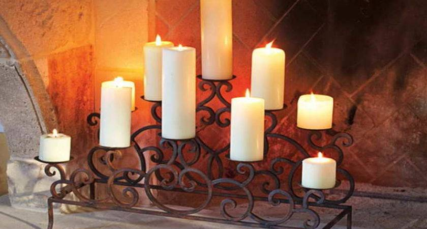 Candle Holders Fireplace Mantel Design Ideas