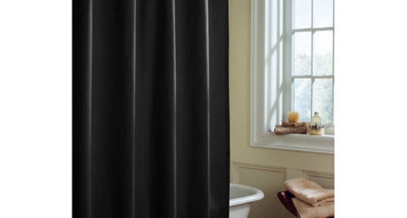 Canopy Microfiber Fabric Black Shower Curtain Liner