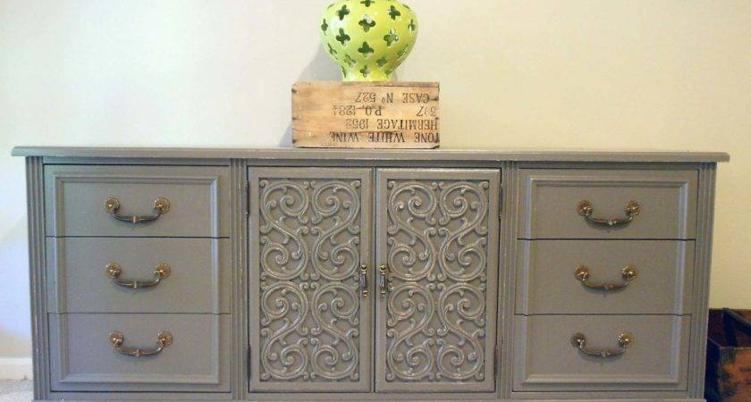 Ceremonious Gray Painted Modern Dresser Added Drawer
