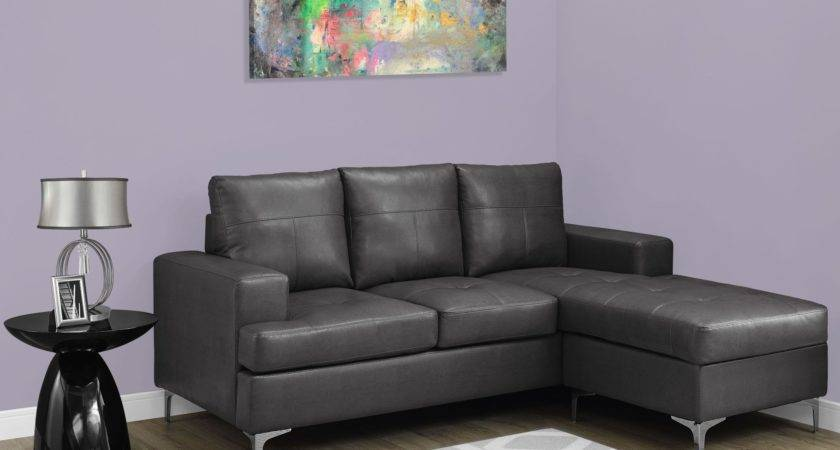 Charcoal Gray Bonded Leather Sofa Lounger Monarch