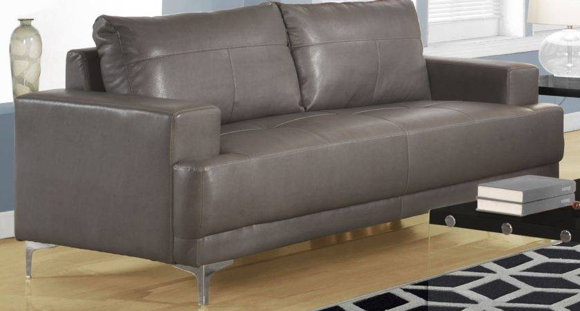 Charcoal Grey Bonded Leather Sofa Monarch