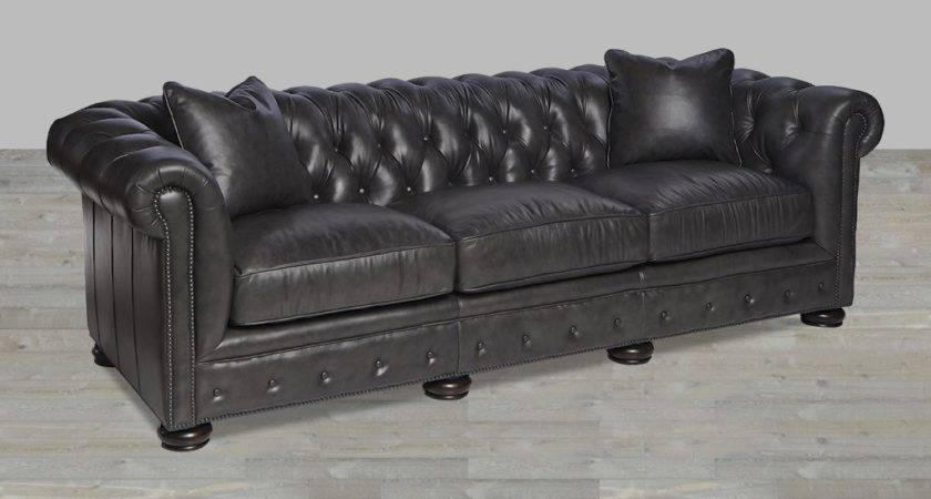 Charcoal Leather Sofa Frankford