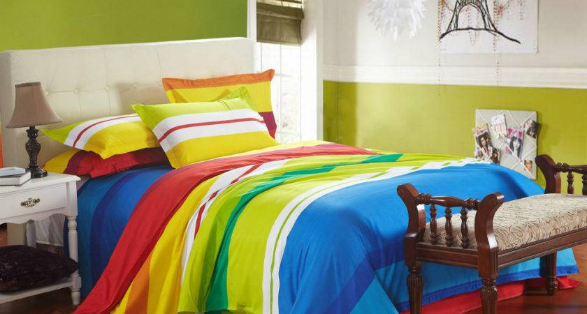 Cheap Bedding Red White Blue Green Orange Yellow Striped