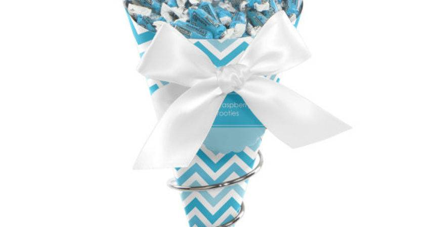 Chevron Blue Candy Bouquet Bigdotofhappiness Etsy