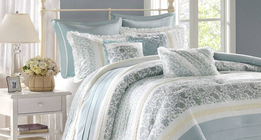 Chic Blue Lace King Comforter Set French Cottage