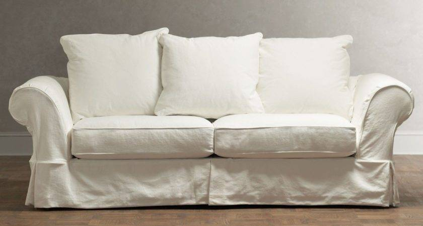 Chic Shabby French Style White Twill Sofa