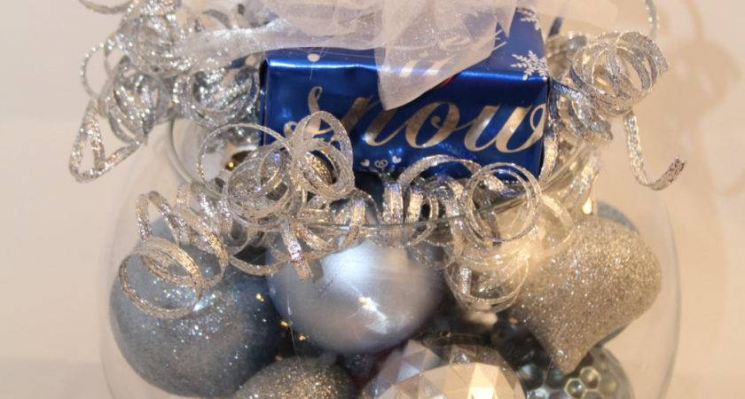 Christmas Centerpiece Silver Blue Holiday Decoration