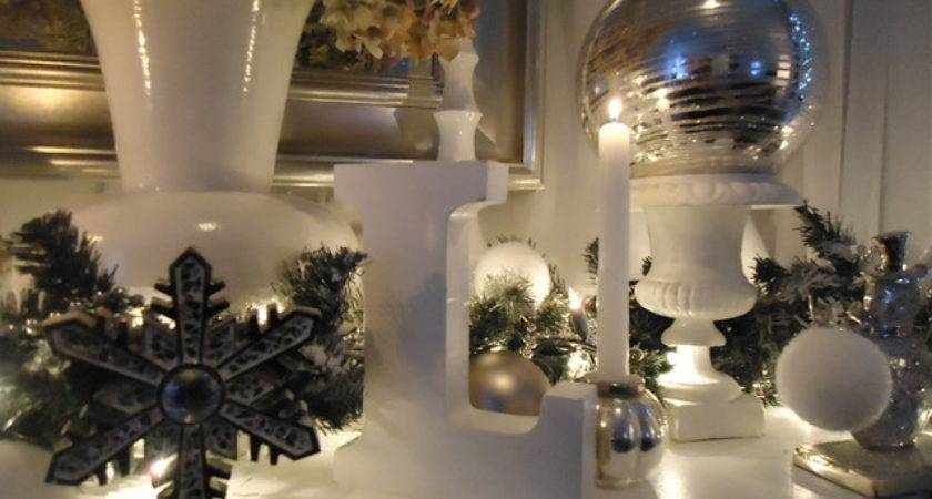 Christmas Mantel Decor Eclectic Living Room