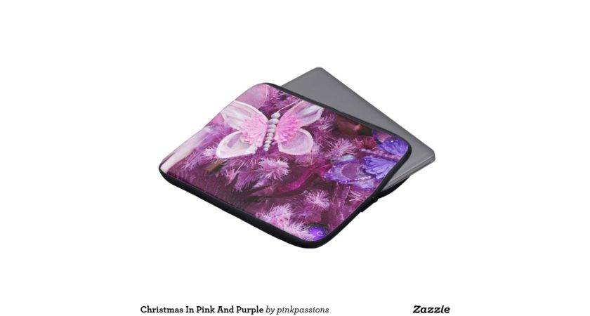 Christmas Pink Purple Laptop Computer Sleeve Zazzle
