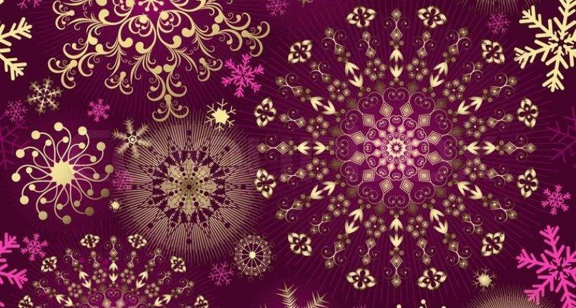 Christmas Purple Seamless Pattern Gold Pink