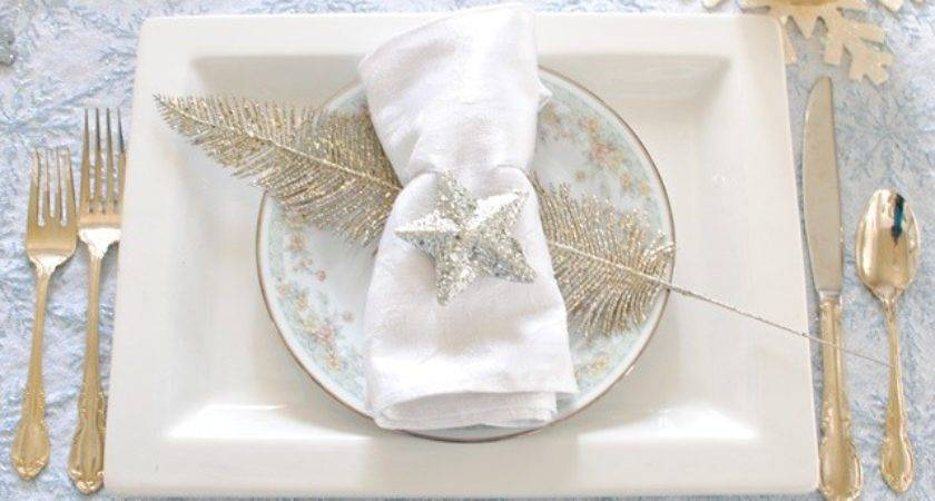 Christmas Table Setting Blue Silver Gold Town