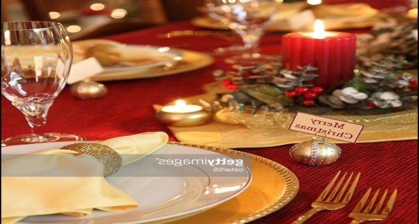 Christmas Table Settings Red Gold Home Furniture