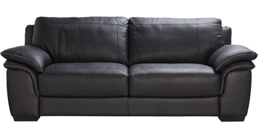 Cindy Crawford Home Grand Palazzo Black Leather Sofa