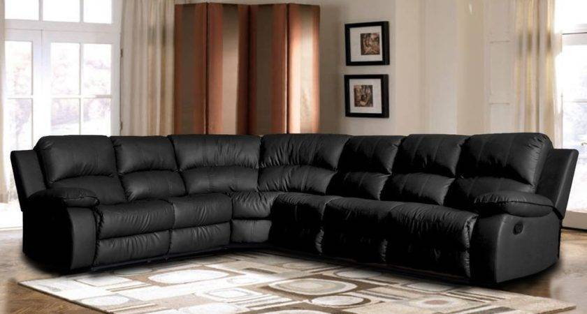 Classic Large Sectional Sofa Black Faux Bonded Leather