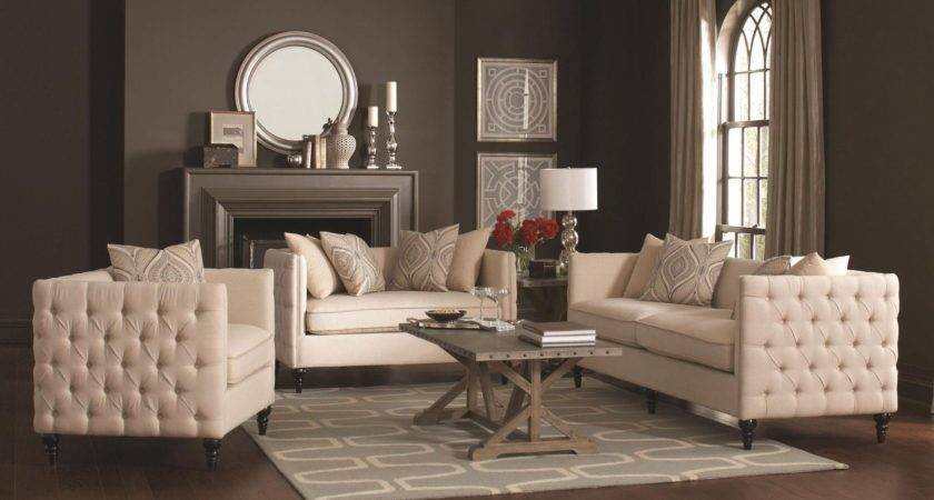 Claxton Beige Living Room Set Coaster