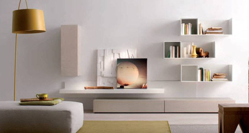 Clean White Living Room Idea Creative Wall Mounted